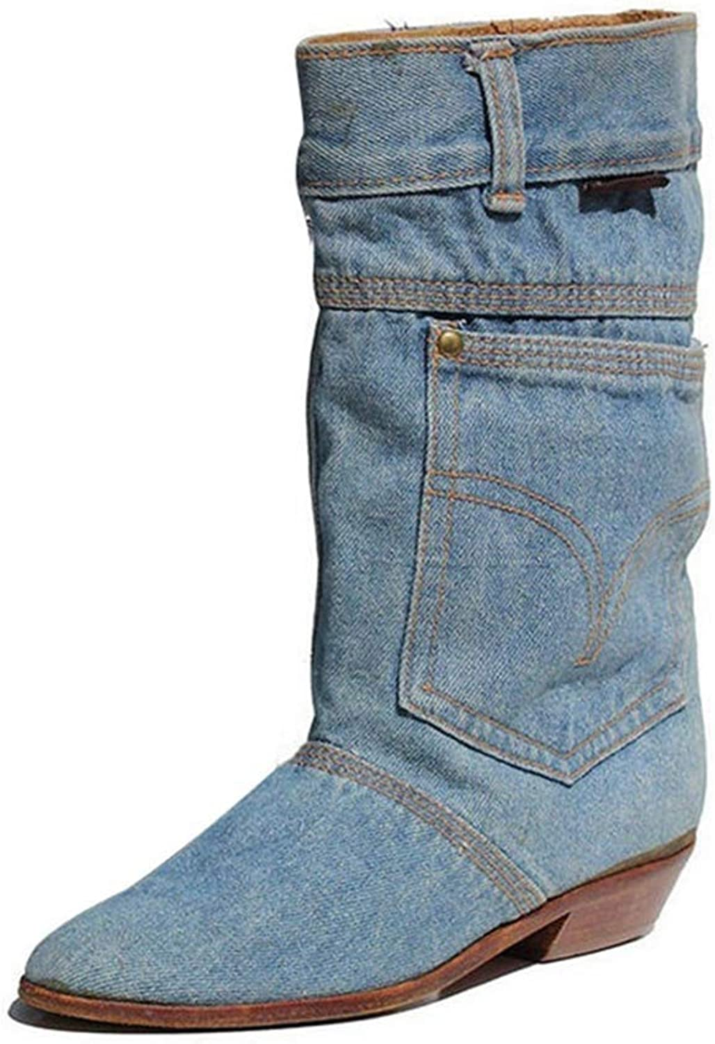 Wallhewb Fashion New Women Low Heel Casual Boots Ladies Mid Calf Jeans Leather Pointed Toe Cowboy Beautyfeet Big Size Boots Rubber Sole Reasing Leg Length Elegant Leg Length bluee 6 M US shoes