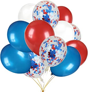 Patriotic Decorations Latex Balloons,30Pcs Red & Blue & White Color Latex Balloons and 12Pcs Red & Blue & Light Blue Confetti Balloons - Fourth of July Party Supplies