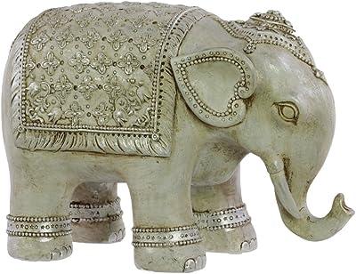 "Urban Trends 8.5"" Resin Persian Elephant Figurine SM Matte Finish Silver Sage Gray, Small"