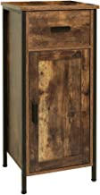 USIKEY Side Cabinet, Floor Storage Cabinet with 1 Door and 1 Drawer, Industrial Wooden Cabinet with 2 Shelves, Nightstand,...