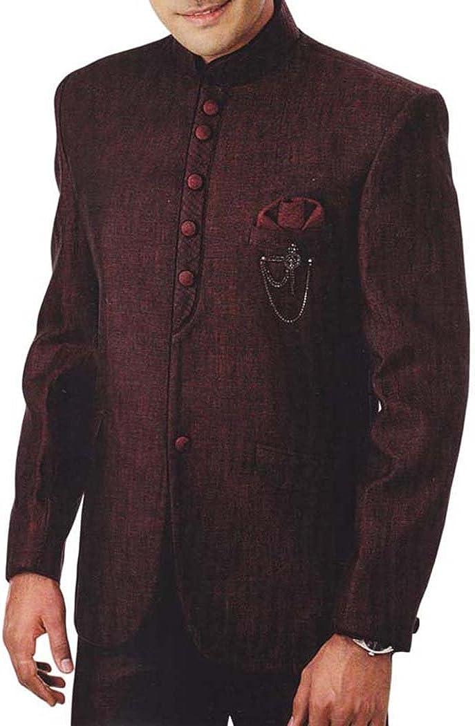 INMONARCH Mens Burgundy 4 Pc Tuxedo Suit Nehru Collar TX944
