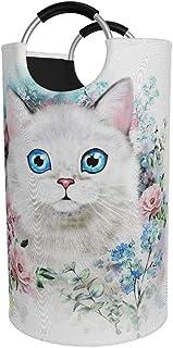 Panier à linge rond, enfants chat fleur Kitty panier à linge seau pliable sac à vêtements 82 litres poubelles pour enfants...