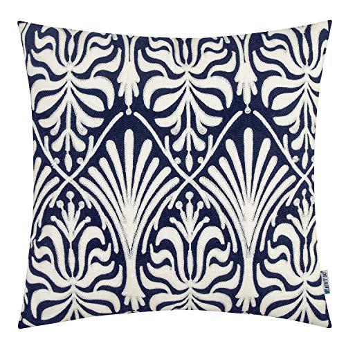 HWY 50 Funda de cojín decorativa bordada azul oscuro para sofá, sala de estar, 45,7 x 45,7 cm, diseño floral, 1 pieza