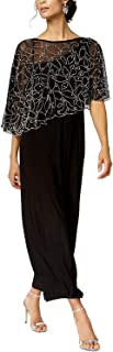 MSK Women's 3/4 Sleeve Beaded Cape Evening Gown, Black, Small