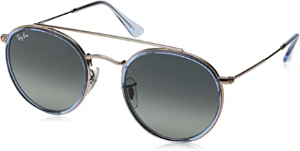RAY-BAN RB3647N Round Double Bridge Sunglasses, Blue On Copper/Grey Gradient, 51 mm