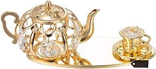 24K Gold Plated Crystal Studded Tea Set Ornaments by Matashi