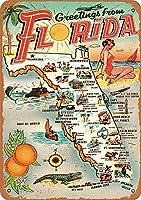 フロリダからの1954年のご挨拶、ブリキのサインヴィンテージ面白い生き物鉄の絵画金属板ノベルティ