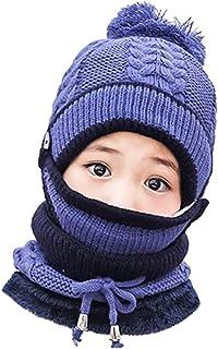 3 في 1 قبعة شتوية منسوجة ووشاح وغطاء فم للأطفال والبنات والأولاد قبعة ببطانة صوفية مع بوم بوم