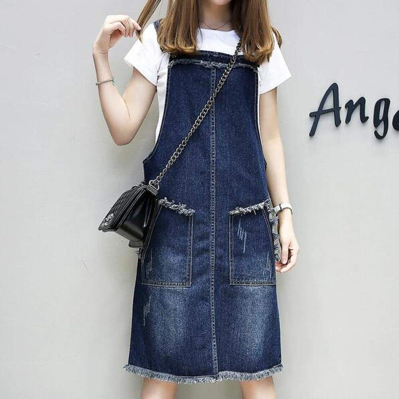 Wujiaba Plus Größe Neue Frühlingssommer-Frauen kleiden Dünger hinzugefügt fetten Langen Denim-Trgern kleidet Blau an