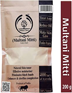 Dolence Clover Multani Mitti (Fuller's Earth) Face Pack For Hair& Glowing Skin,Oily Skin,Treat Acne & Pimples, Detoxifying Skin,A Organic Cleanser-200gm