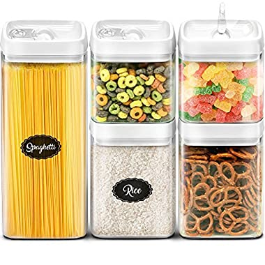 Airtight Storage Containers Set - Best Kitchen Dry Food Containers with Lids - Clear Plastic Food Storage Containers BPA Free - Cereal Storage Containers - 5 Piece Airtight Canister - Canister Set