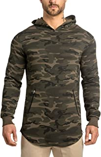 LionRoar Men's Camouflage Gym Workout Full Sleeve Hooded T Shirt for Men with Zipper Pockets