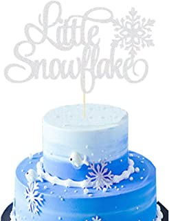Little Snowflake Cake Topper Winter Snowflake Baby Shower Winter Onederland Birthday Party Supplies Decorations Boy Girl(Silver)