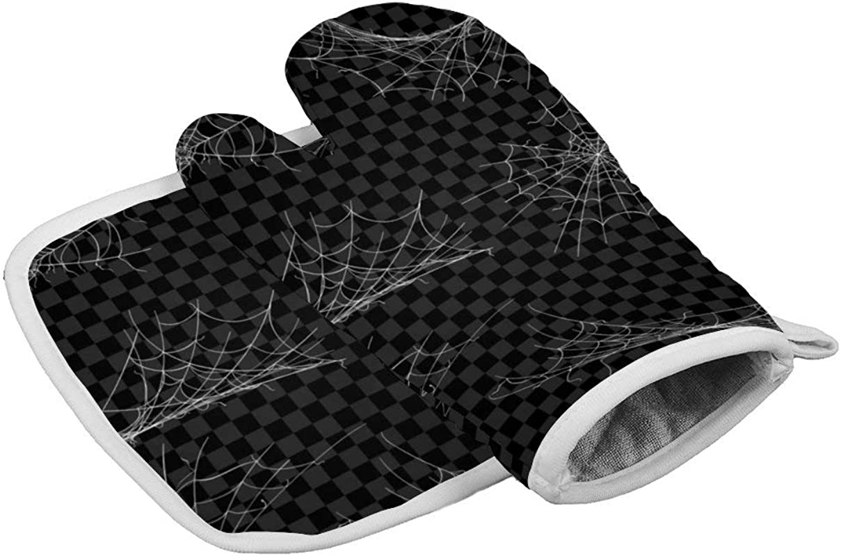 Insulation Gloves Spider Halloween CogwebsOven Mitts Professional Heat Resistant To 500 C Thickening Version Non Slip Kitchen Oven Gloves For Cooking Baking Grilling Barbecue Potholders