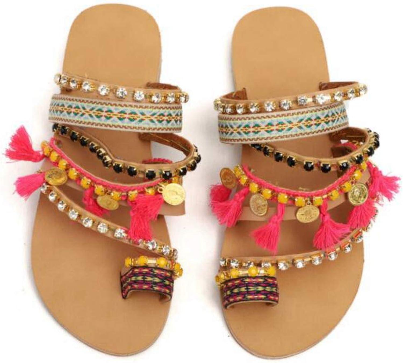 Vimisaoi Women's Summer Bohemia Flat Sandals Slip On Gladiator Sandals, Flip Flops Rome PU Handmade Rhinestone Clip Toe Beach shoes