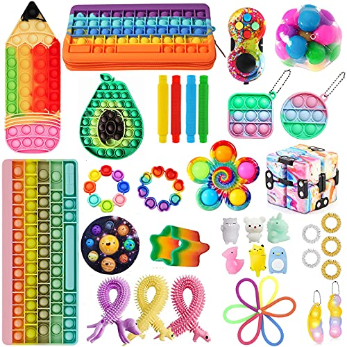 aturustex 40pcs Fidget Packs Figetsss Toy Set Figetget Toys Pack with Sensory Rainbow Calculator Keyboard Pop in It Pencil Pen Case Planet Dimple Cheap Figit Toy Packages (40pcs Fidget Packs#01)