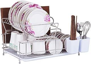 DUDDP Étagère cuisine Plateau à vaisselle Égouttoirs à vaisselle debout Plateau de cuisine Comptoir de rangement à 2 nivea...