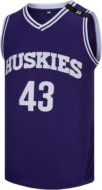 OTHERCRAZY Mens Kenny Tyler #43 Huskies The 6th Man K.Tyler Movie Basketball Jersey