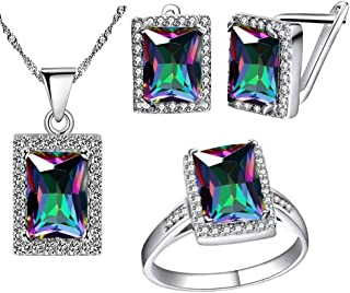 Women's Fashion Created Mystic Topaz Big Emerald Cut Pendant Necklace Clip on Stud Earrings Solitaire Ring Set Rainbow Crystal Wedding Jewelry Set Gift T483