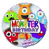 Unique Party- Globo Foil cumpleaños Monstruo, 45 cm (56703)