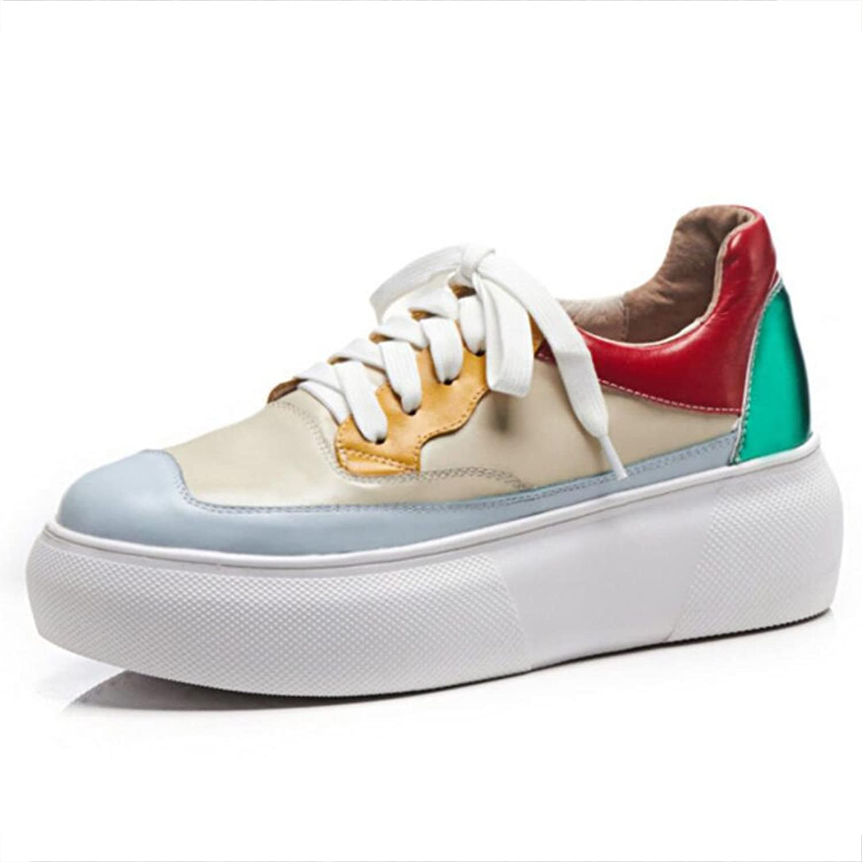 GAOLIXIA Flache beiläufige Schuhe der Frauen schnüren Sich Oben-Soled Oben-Soled Oben-Soled Muffin-Ferse-beiläufige Schuhe im Freien Bequeme gehende Wanderschuhe  1bb270