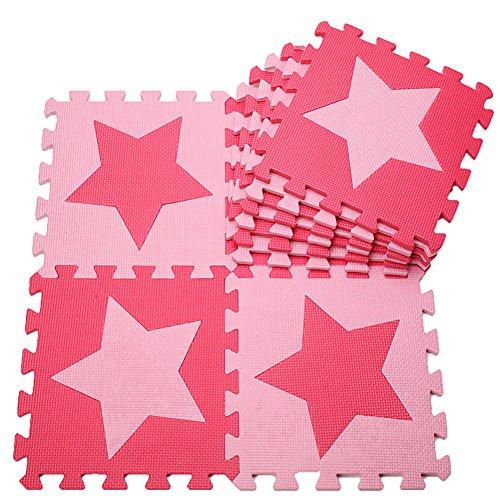 """MUSOLEI Puzzle Schaumstoffmatte Spielmatte Ineinandergreifender Schaum Baby Star Fliesen Spielmatten 10 Stück/Beutel Jedes Stück = 12""""x 12"""" dick 3/8""""rot + pink"""