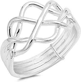 Prime Jewelry Collection Sterling Silver Bright Women's Puzzle Knot Ring (Sizes 5-13)