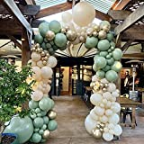 DIY Balloon Arch Kit Retro Olive Green Balloon Garland Kit-154pcs Sage Green, Ivory White And Metallic Chrome Gold Balloons For Baby&Bridal Shower, Birthday Party, Wedding, Grad, Anniversary Party