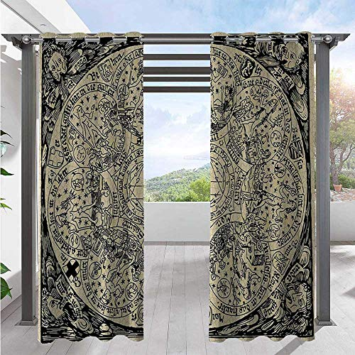 Adorise Home Curtains Series of Ancient Mystic Esoteric Old Map with Man Figures Vintage Symbols Decor Waterproof Patio Curtains Pleasing to The Eye, Durable Ecru Black W84 x L96 Inch