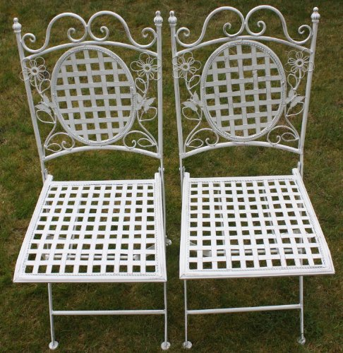 Maribelle White Square Metal Floral Designed Folding Outdoor Garden Patio Chairs X 2