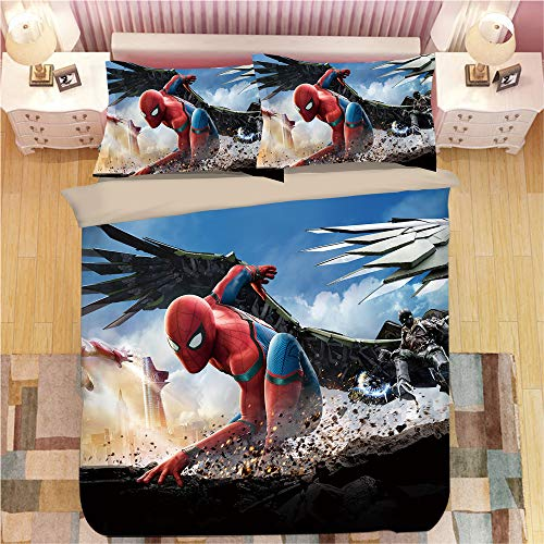 KYNWCLRW Kingsize Duvet Set, 3D Digital Print Spider-Man Quilt Cover, Upgrade Polyester-Cotton Luxury Trendyquilt Cover Sets, For Teen (220X240Cm)