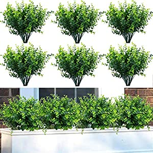 Summer Flower 9 Pack Artificial Boxwood Stems for Outdoors,Plastic UV Resistant Faux Plants,Fake Plants Foliage Shrubs Greenery for Garden,Office,Patio,Wedding,Farmhouse Indoor Decoration