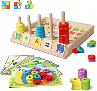 Lydaz Wooden Puzzles Counting Toys, Montessori Preschool Learning Math Toys for Toddlers, Shape Sorter Stacking Blocks Toys for 3 Year Olds and Up
