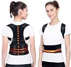 Magnetic Posture Corrector Back Brace, Magnetic Therapy Support for Back Neck Shoulder and Upper Back Pain Relief Perfect Posture Brace for Cervical and Lumbar Spine Fully Adjustable Belt and Straps