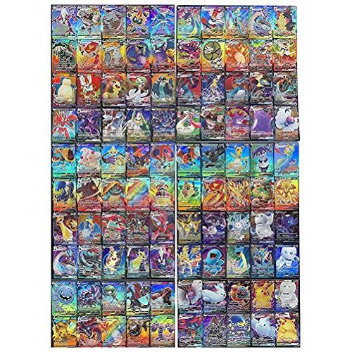 NOEARR Juego de 100 Tarjetas de Pokémon, Tarjetas de Pokémon Baratas, Naipes para niños, Tarjetas de Intercambio GX Que Incluyen 60 V + 40 V máx.