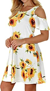 Viracy Women Summer Casual Cold Shoulder Short Sleeve Swing Dress with Pockets