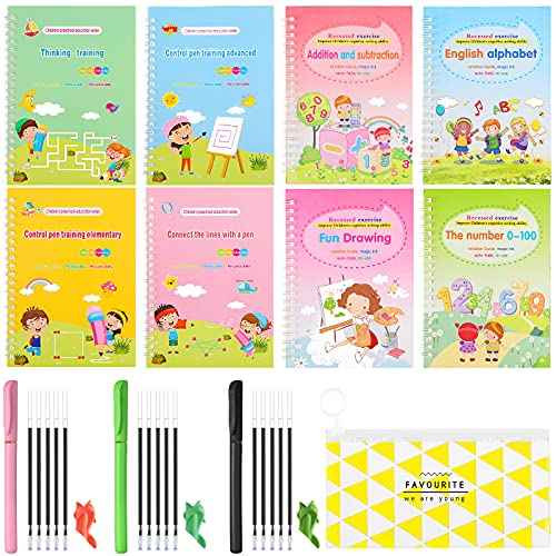 8 Pieces Magic Kids Practice Copybook With 3 Automatic Fading Pens 15 Replaceable Refills 1 Pencil Grip Reusable Writing Book Print Handwriting Workbook for Children Training