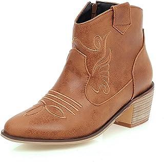 SJDFK Hommes Bottes de Cowboy occidentales en Cuir avec Rivet Biker Chaussures de Moto Bout carré Talon Bas Knight Bootes ...