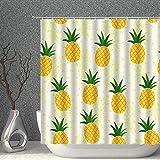 N\A Ananas Duschvorhang Tropische Früchte Pflanze Gelbgrün Cartoon Dekor Stoff Badvorhänge Wasserdichtes Polyester mit Haken