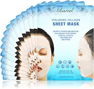 Ebanel Laboratories Korean Collagen Facial Face Mask Sheet, 15 Pack, with Hyaluronic Acid Face Masks, Anti-Aging Anti-Wrinkle with Stem Cell Extracts, Peptide