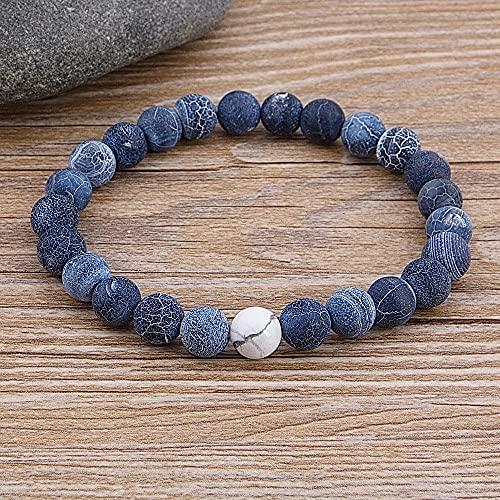 Pulsera de cuentas de piedra natural de lava de cuentas azules de cuentas de ojo de tigre de cuentas de mármol masculinas femeninas personalizadas joyería hecha a mano de piedra de 8 Mm de ancho