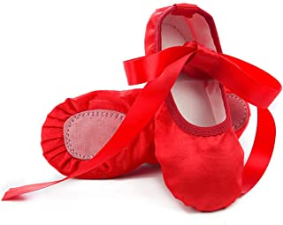 Girls Pink Ballet Dance Shoes Split Sole with Satin Ballet Slippers Flats Gymnastics Shoes BA01(Toddler/Little Kid/Big Kid)
