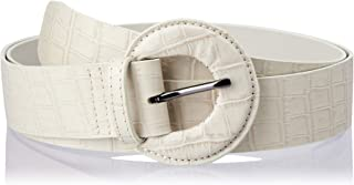 Jaggar Women's Buckle Belt Crocodile, Cream, Standard S