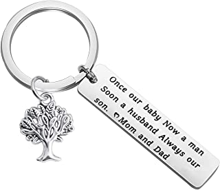 to My Son Keychain Once Our Baby Now A Man Soon A Husband Always Our Son Wedding Jewelry for Groom to be Gift