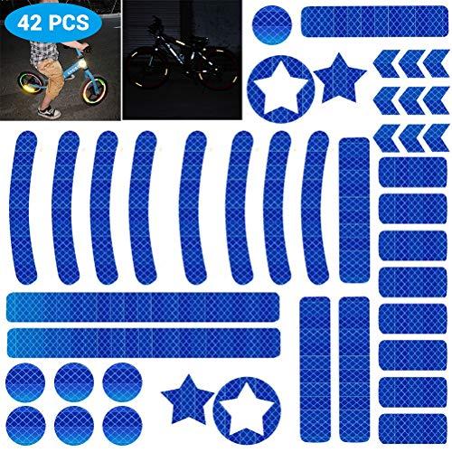 Hihey Reflector, zelfklevend, 42 stuks, reflexfolie, set voor zekeringsmarkering van kinderwagens, fietsen, helmen met stickers, zelfklevend en zeer reflecterend blauw