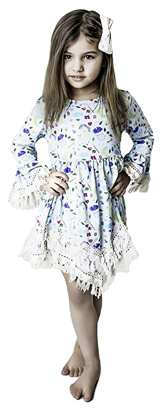 Unicorn Girl Toddler Boho Fringe Dress Easter Flowers Pastel Colors Pink White Blue 4-5T