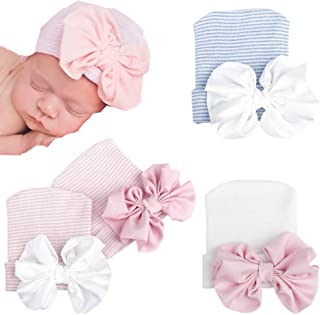 Asufegucd Baby Boy Girls Newborn Hospital Hat Caps with Bow