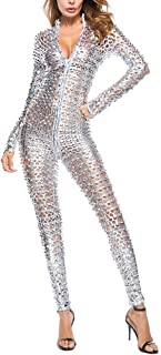 Hooded Shiny Holographic Metallic Scale Festival Jumpsuit Fancy Dress Costume