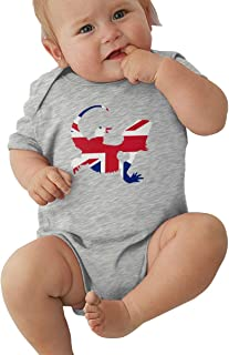 Toddler Baby Boy Girl Short Sleeve Bodysuits British Flag Bearded Dragon Silhouette Baby Clothes