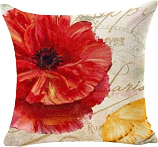 ITFRO Red Yellow Poppy Flower Sofa Decorative Beige Cotton Linen Throw Pillow Case Cushion Cover Square 18 inches